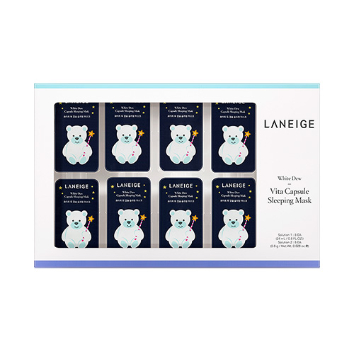 [E][Laneige] White Dew Vita Capsule Sleeping Mask 3g*8ea+0.1g*8ea (Weight : 54.8g)-MYKOCO WS