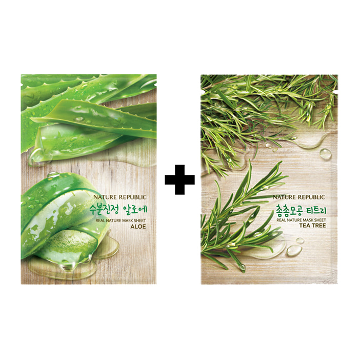 [20ea][Nature Republic] Real Nature Mask Sheet #Aloe 10ea+Tea Tree 10ea (Weight : 600g)