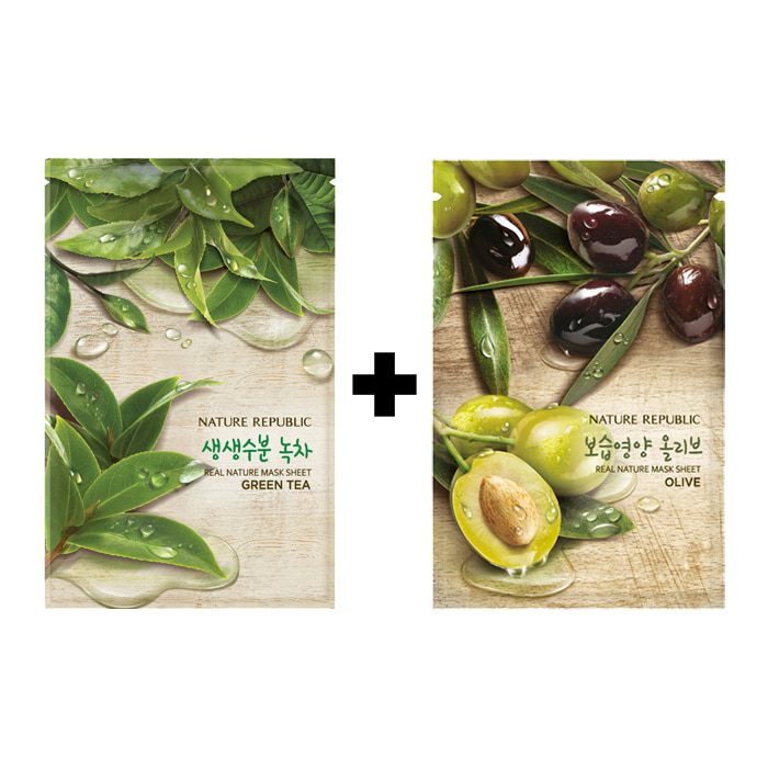 [20ea][Nature Republic] Real Nature Mask Sheet #Green Tea 10ea+Olive 10ea (Weight : 600g)