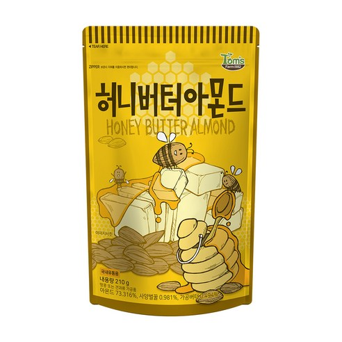 [Gilim] Tom's Farm Honey Butter Almond 210g (Weight : 280g)-MYKOCO WS