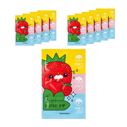 [Tonymoly] Runaway Strawberry Seeds 3-Step Nose Pack 10ea (Weight : 50g)-MYKOCO WS