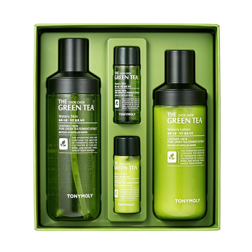 [Tonymoly] The Chok Chok Green Tea Watery Skin Care Set 180ml+160ml+20ml+20ml (Weight : 550g)-MYKOCO WS